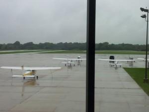 planes in the rain